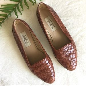 soft leather enzo angiolini woven flats / loafers